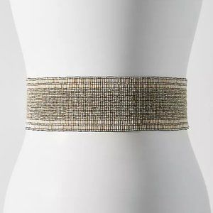 Anthropologie Cocobelle Gold Beaded Elastic Belt